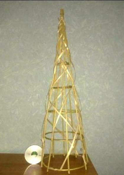 Плетение из лозы в форме конуса ёлка